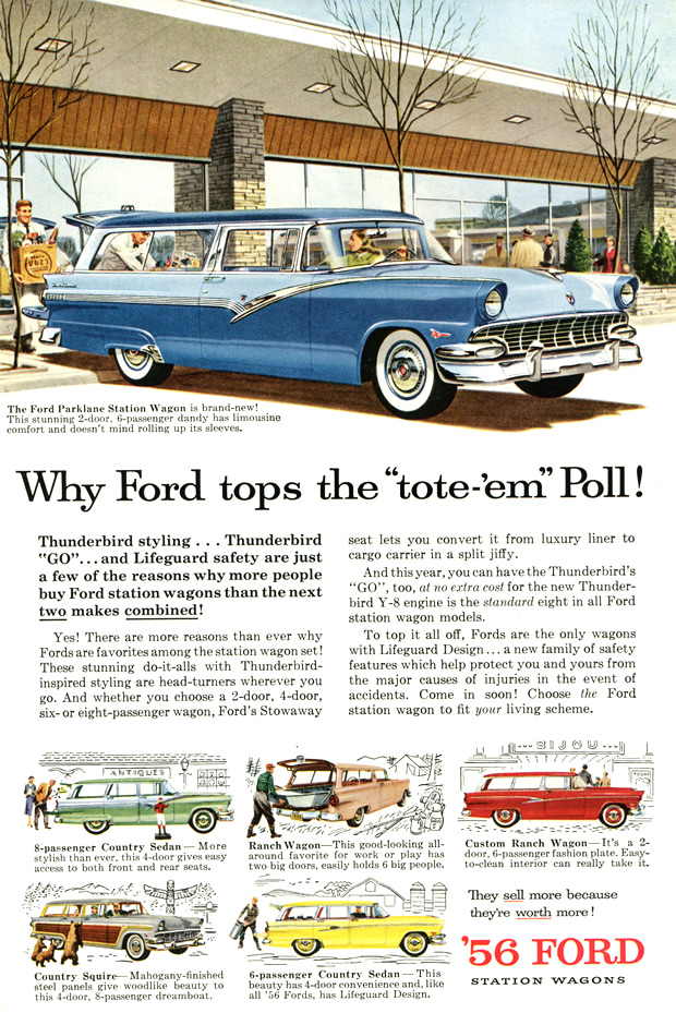 Original ad for 56 Ford Station Wagons