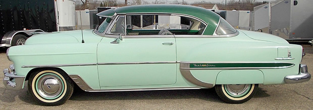1953 Chevrolet Bel Air Sport Coupe Woodland Green Over