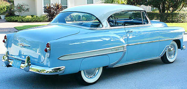 Rear view of a 1953 Chevy Bel Air Sport Coupe