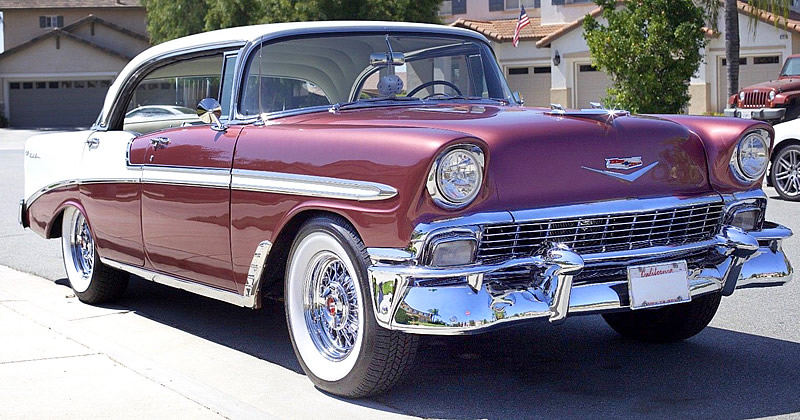 1956 chevy bel air sport sedan dusk plum india ivory. Black Bedroom Furniture Sets. Home Design Ideas