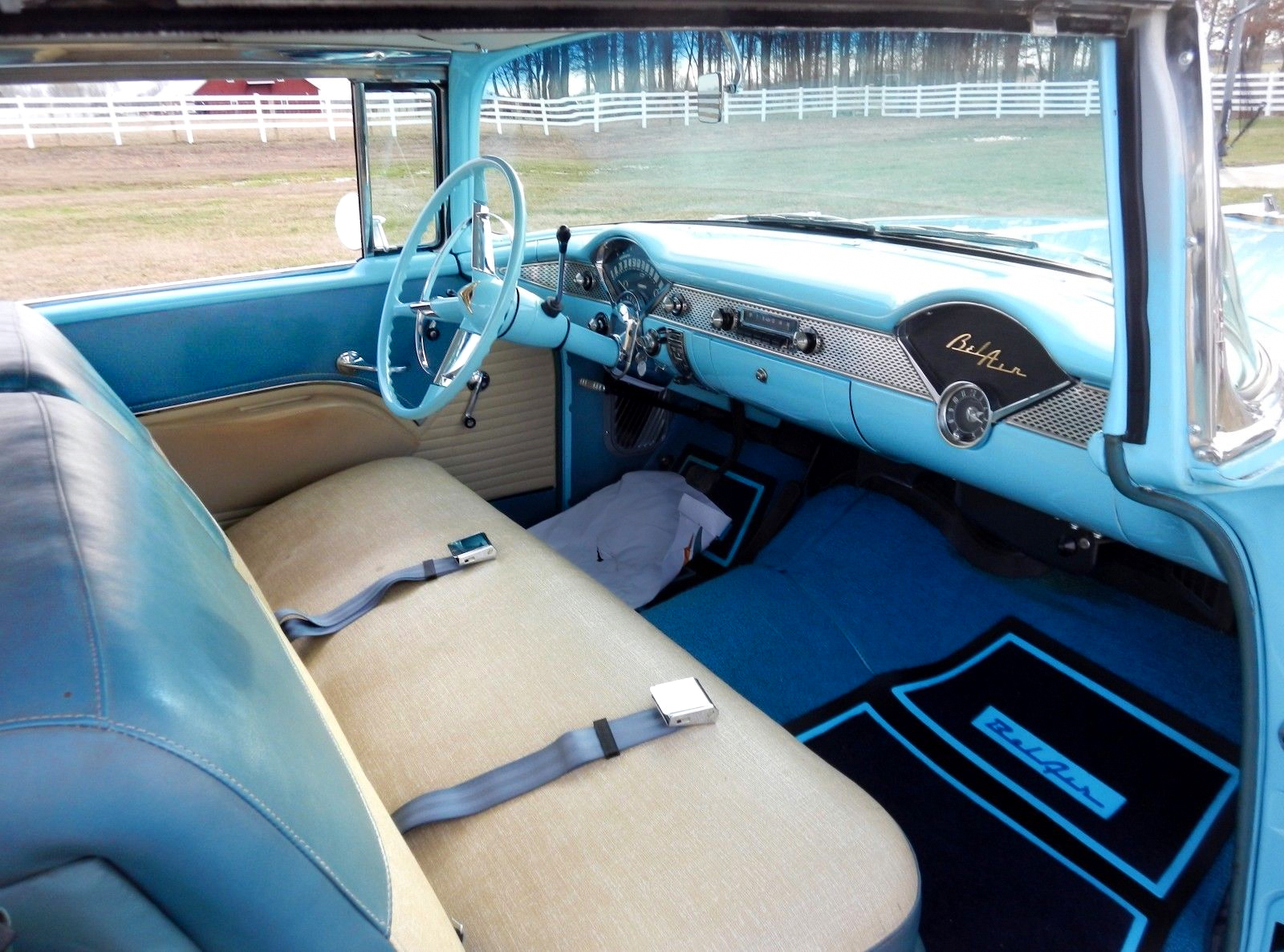 1955 Chevrolet Bel Air Sport Coupe - Skyline Blue / Indian Ivory