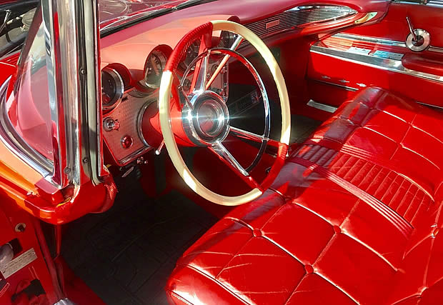 1960 Lincoln Continental - beautiful original interior with red leather seats