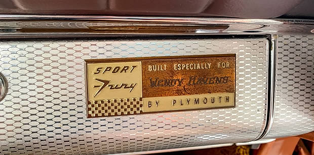 1959 Plymouth Sport Fury Name Plaque