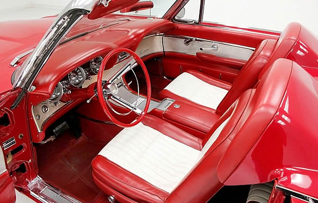 Vinyl interior of a 61 T-Bird Convertible