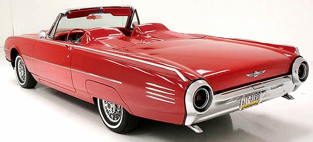 The rear of a 1961 Ford Thunderbird Convertible
