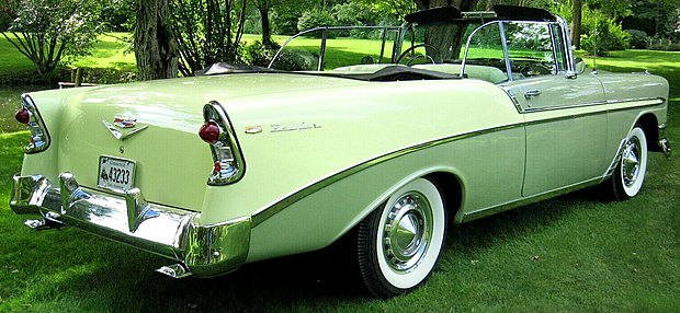 1956 Chevy Bel Air Convertible rear view with top down