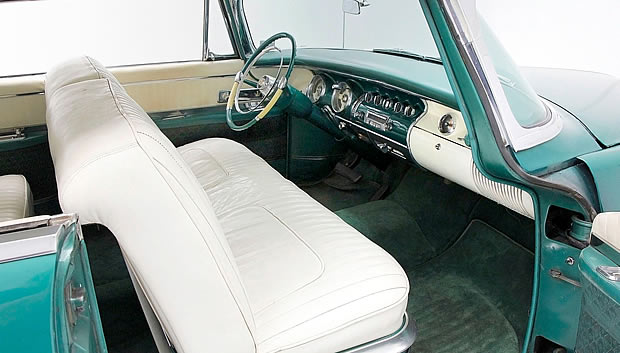 1955 Imperial interior showing seating and dash