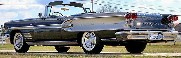 1958 Pontiac Bonneville Convertible Rear View - Top down