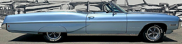 side view of a convertible 68 Bonneville by Pontiac