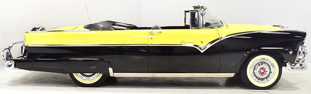 Side view of a 55 Ford Fairlane Sunliner Convertible