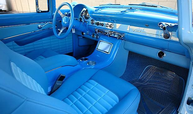 Custom interior inside a 56 Ford Parklane station wagon