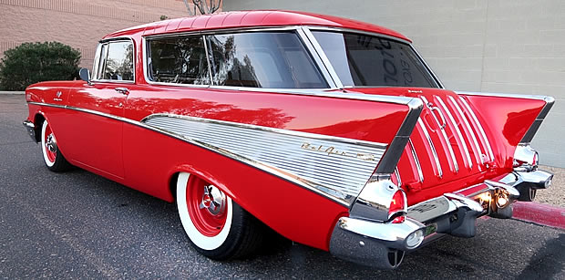 Rear view of a 57 Chevy Nomad restomod