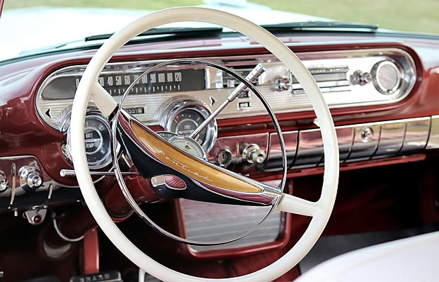Chrome laden instrument panel of the 1957 Pontiac Star Chief