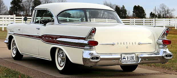 Rear view of a 57 Pontiac Star Chief 2-door Catalina