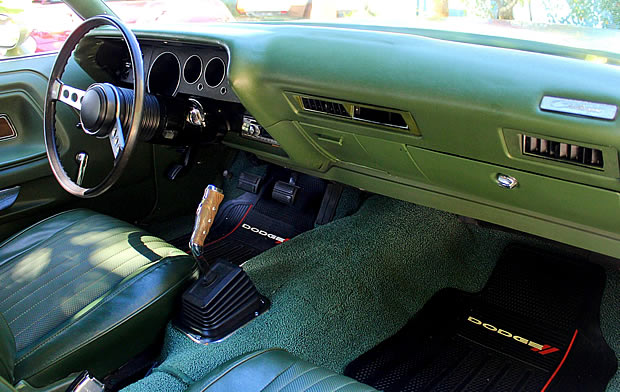 Interior shot of a 1973 Dodge Challenger in green
