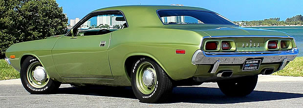 rear view of a 73 Dodge Challenger