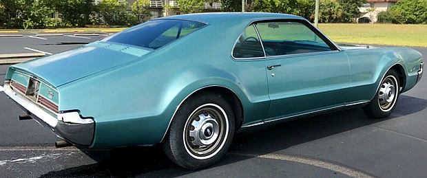 Rear view of the 66 Oldsmobile Toronado