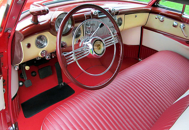 luxurious interior of the 53 Buick Skylark convertible