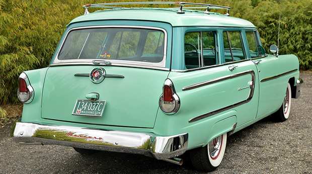 Rear view of a Sea Isle Green 1950 Mercury Wagon