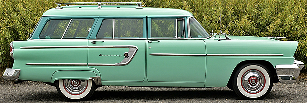 side view of a 55 Mercury Custom station wagon