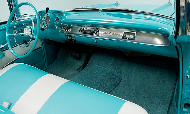 turquoise and ivory interior of a 57 Chevy convertible