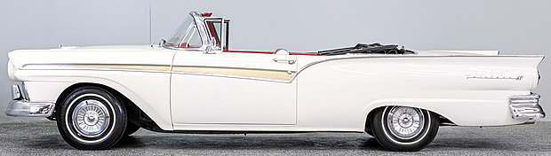 sideview of a 57 Fairlane 500 Sunliner