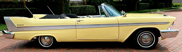 side view of a 58 Plymouth Belvedere convertible