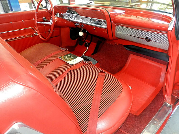 cloth and vinyl interior of the 1962 Chevy Impala