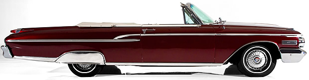 side view of a 62 Mercury Monterey convertible with the top down