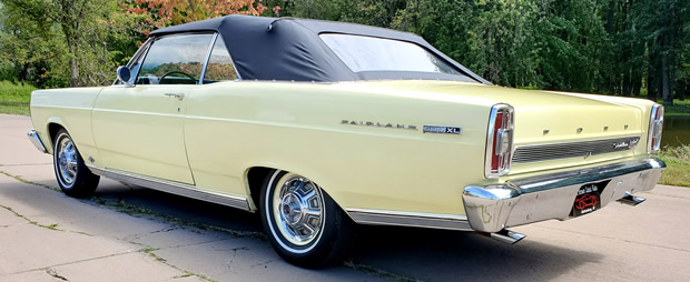rear view of a Springtime Yellow '66 Ford Fairlane 500 XL convertible