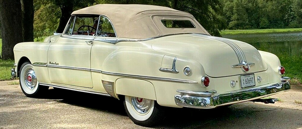 Rear view of a 1951 Pontiac Convertible with the top up