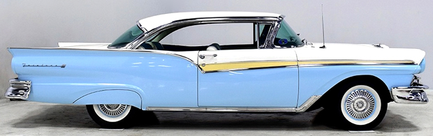 Side view of a 57 Ford Fairlane 500 Victoria