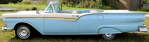 side view of a 1957 Ford Skyliner retractable hardtop