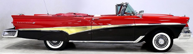 side view of a 58 Sunliner with the convertible top down
