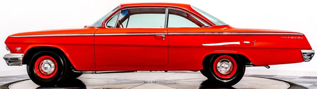 side view of a very nice 62 Chevy Bel Air with 409 V8