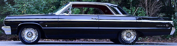 Side view of a 1964 Chevrolet Impala SS in Tuxedo Black