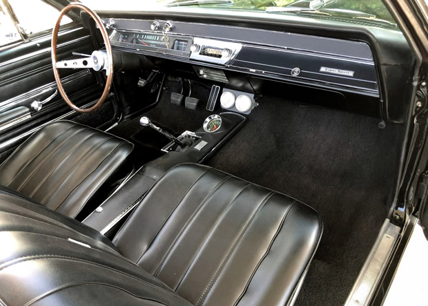 bucket seat interior of a 66 Chevy Chevelle convertible SS 396