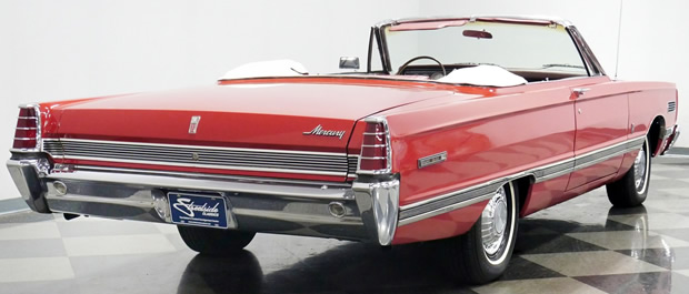 rear view of a 66 Mercury Park Lane convertible with the top down