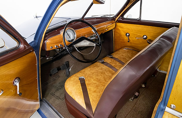 stunning interior of a 51 Ford Country Squire Woody Wagon