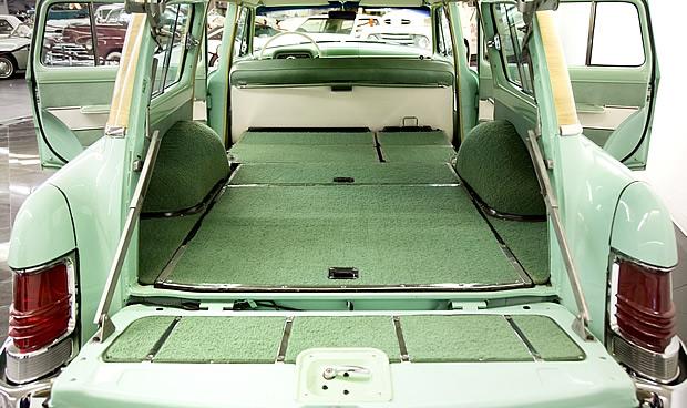 plenty of cargo space inside the 54 Mercury Monterey station wagon