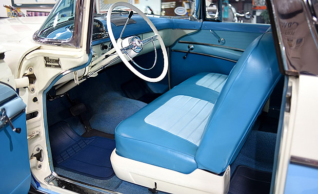 interior of a 55 Ford Crown Victoria Skyliner