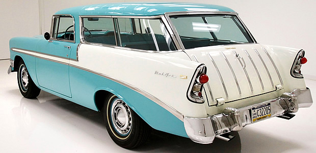 Rear view of a 56 Chevy Bel Air Nomad station wagon