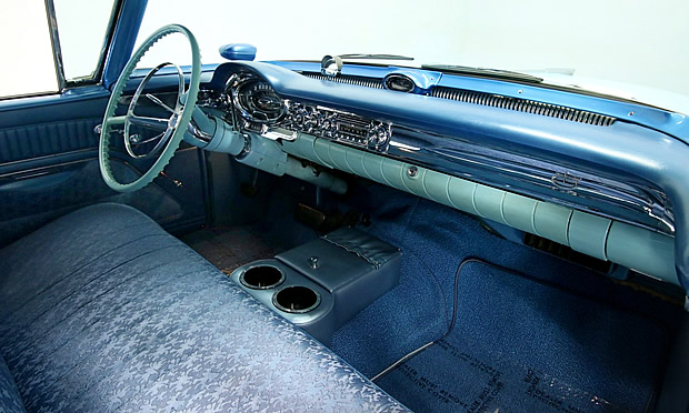 1957 Oldsmobile interior in blue