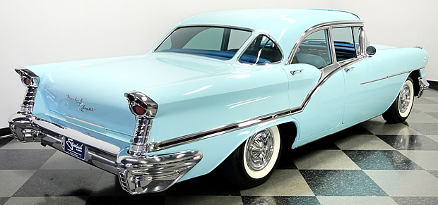 Rear view of a 1957 Oldsmobile Starfire 98 Holiday