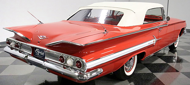 Rear view of a 60 Chevy Impala Convertible