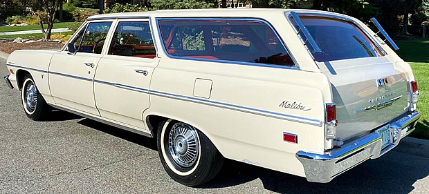 rear view of a 64 Chevy Chevelle Malibu station wagon