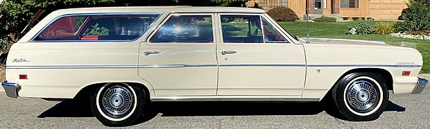 side view of the 6-passenger Chevrolet Malibu station wagon for 1964