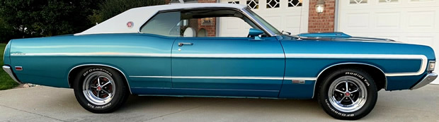 side view of a 69 Ford Fairlane Torino GT