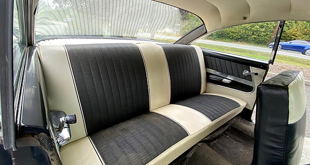 two-tone vinyl interior of a 61 Ford Starliner