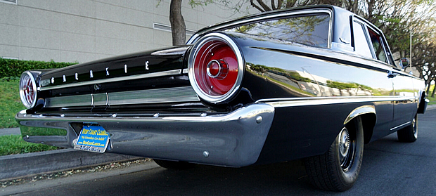 Rear view of a 63 Ford Galaxie in black